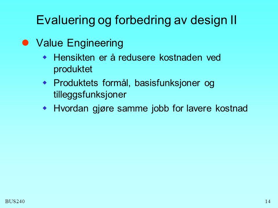 Evaluering og forbedring av design II