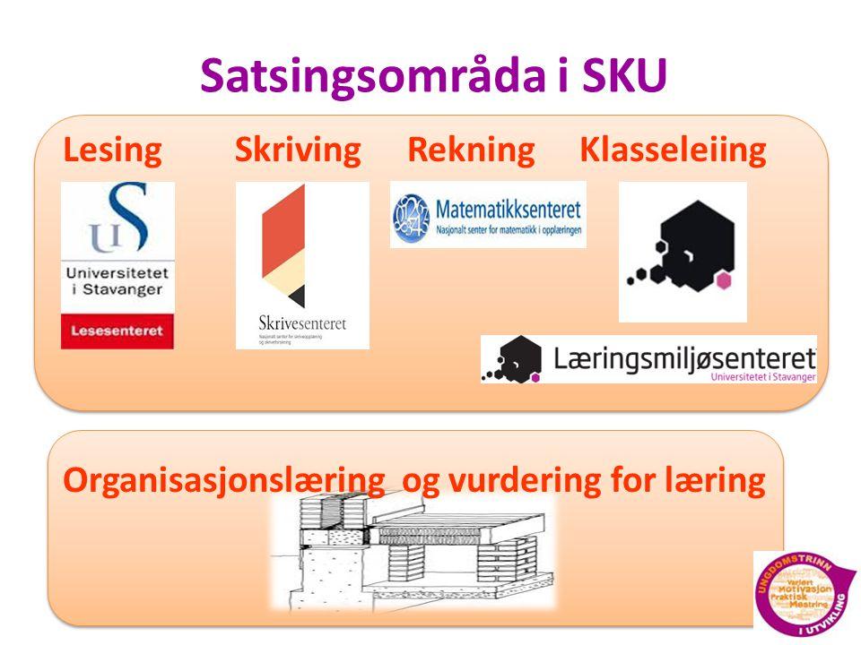 Satsingsområda i SKU Lesing Skriving Rekning Klasseleiing Organisasjonslæring og vurdering for læring