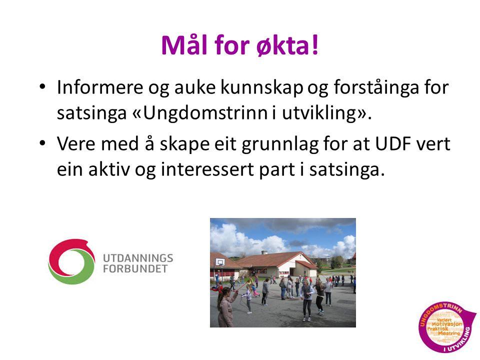 Mål for økta! Informere og auke kunnskap og forståinga for satsinga «Ungdomstrinn i utvikling».