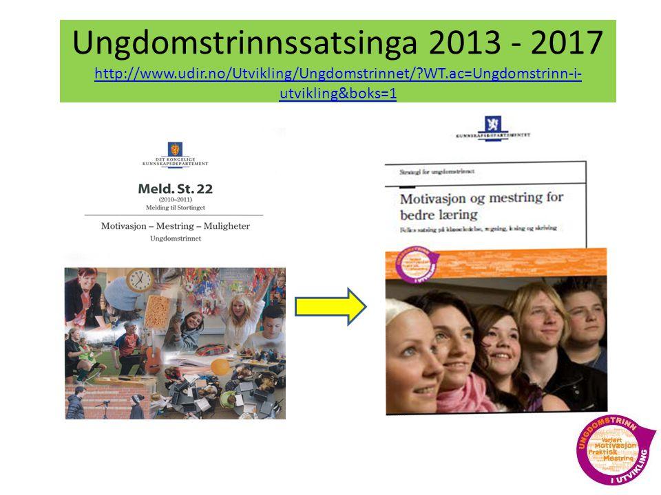 Ungdomstrinnssatsinga 2013 - 2017 http://www. udir