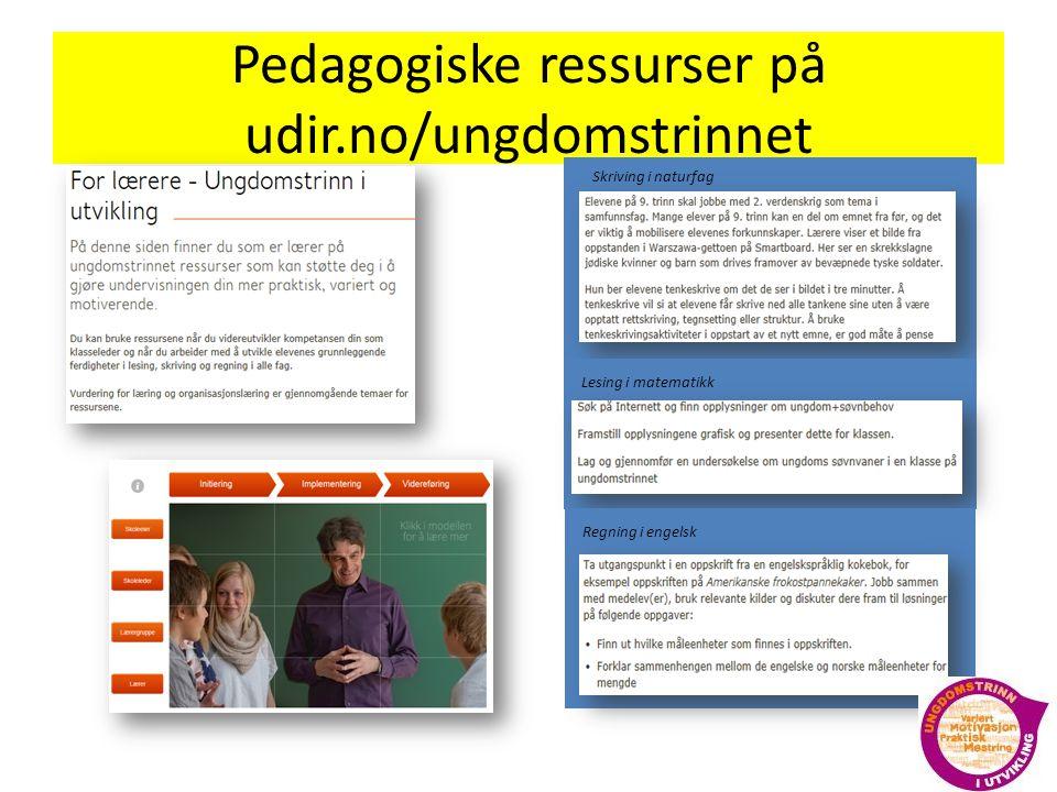 Pedagogiske ressurser på udir.no/ungdomstrinnet