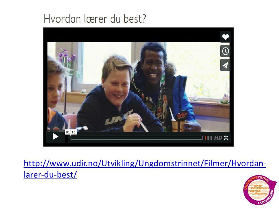 http://www.udir.no/Utvikling/Ungdomstrinnet/Filmer/Hvordan-larer-du-best/