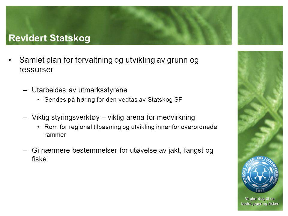 Revidert Statskog Samlet plan for forvaltning og utvikling av grunn og ressurser. Utarbeides av utmarksstyrene.