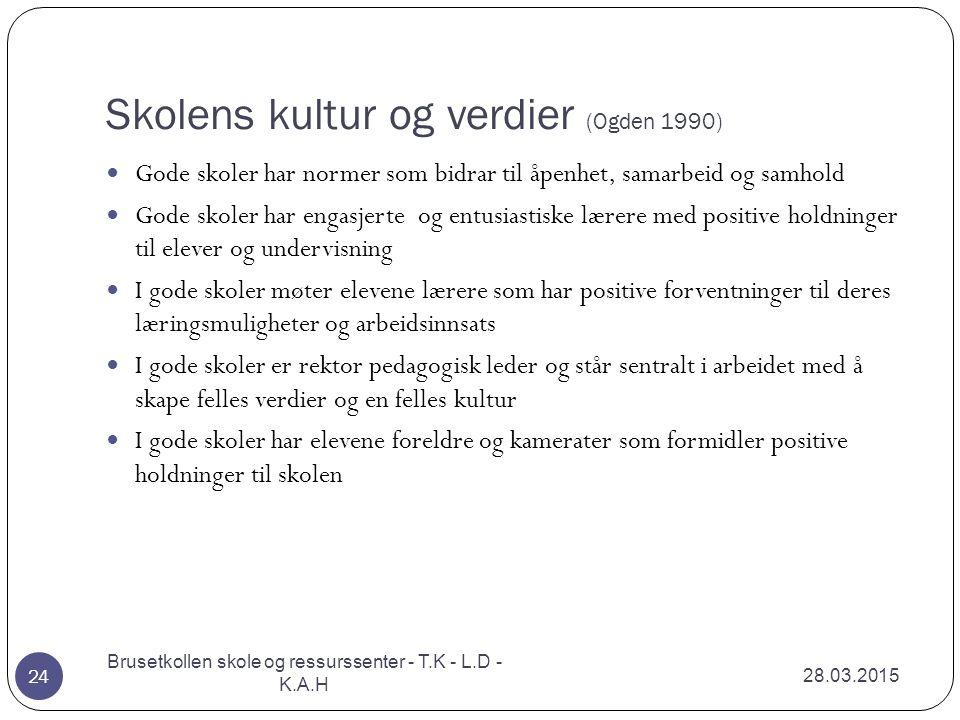 Skolens kultur og verdier (Ogden 1990)