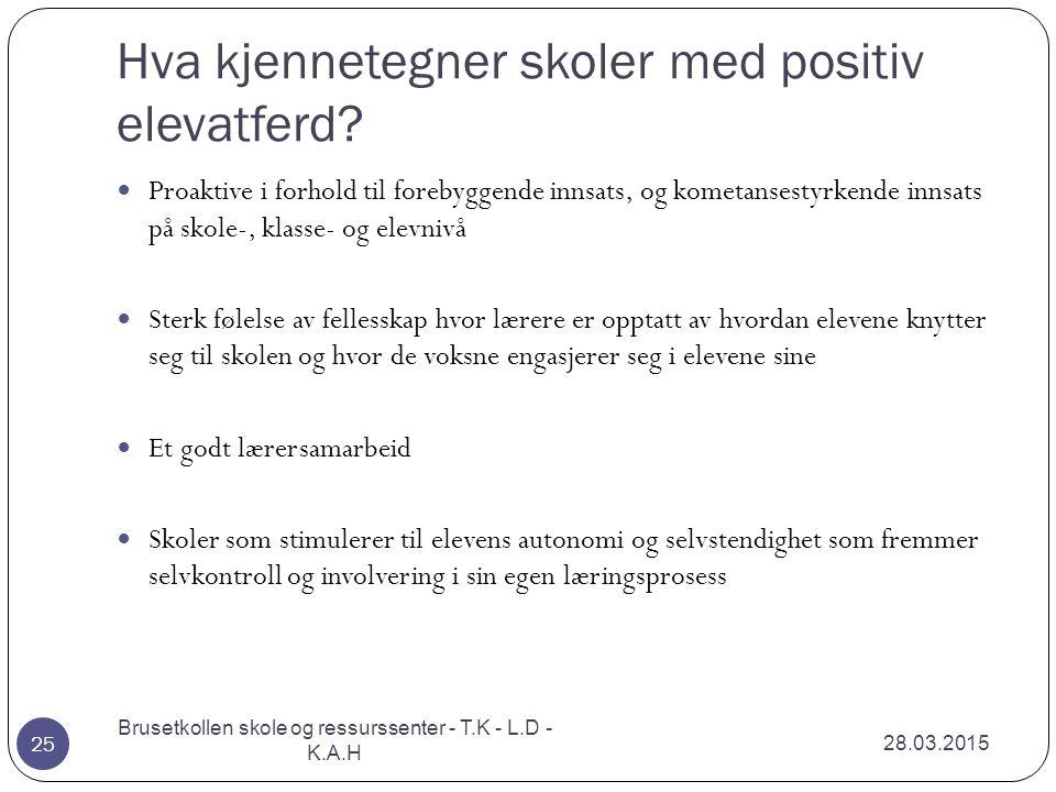 Hva kjennetegner skoler med positiv elevatferd