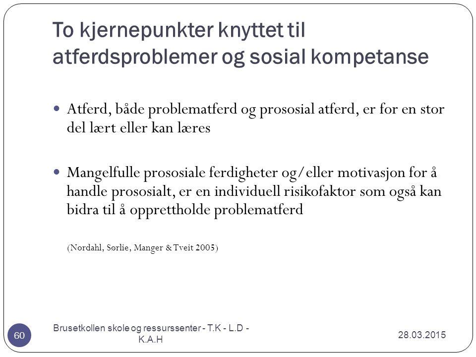 To kjernepunkter knyttet til atferdsproblemer og sosial kompetanse