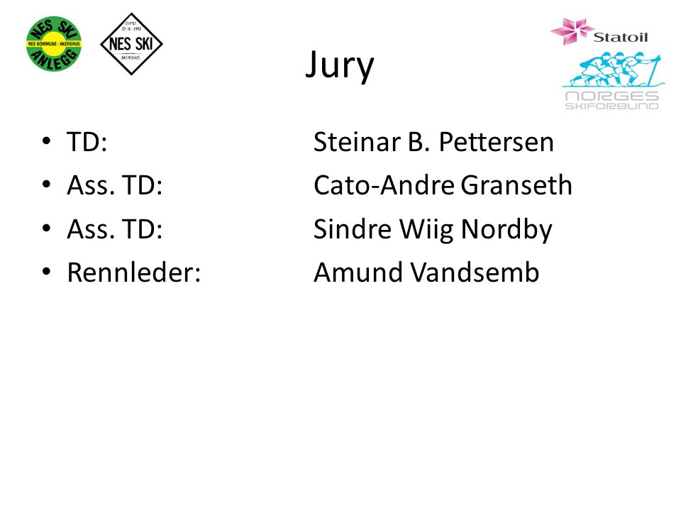 Jury TD: Steinar B. Pettersen Ass. TD: Cato-Andre Granseth