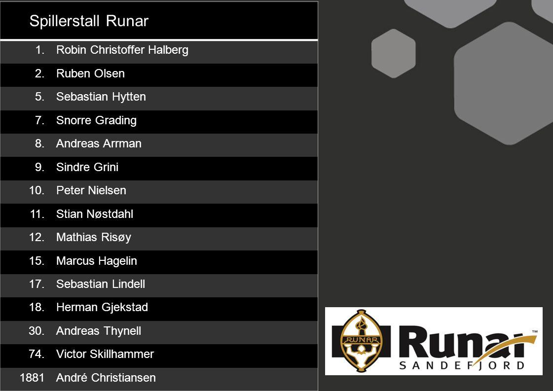Spillerstall Runar 1. Robin Christoffer Halberg 2. Ruben Olsen 5.