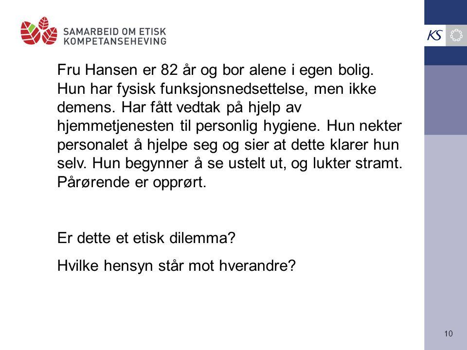Fru Hansen er 82 år og bor alene i egen bolig