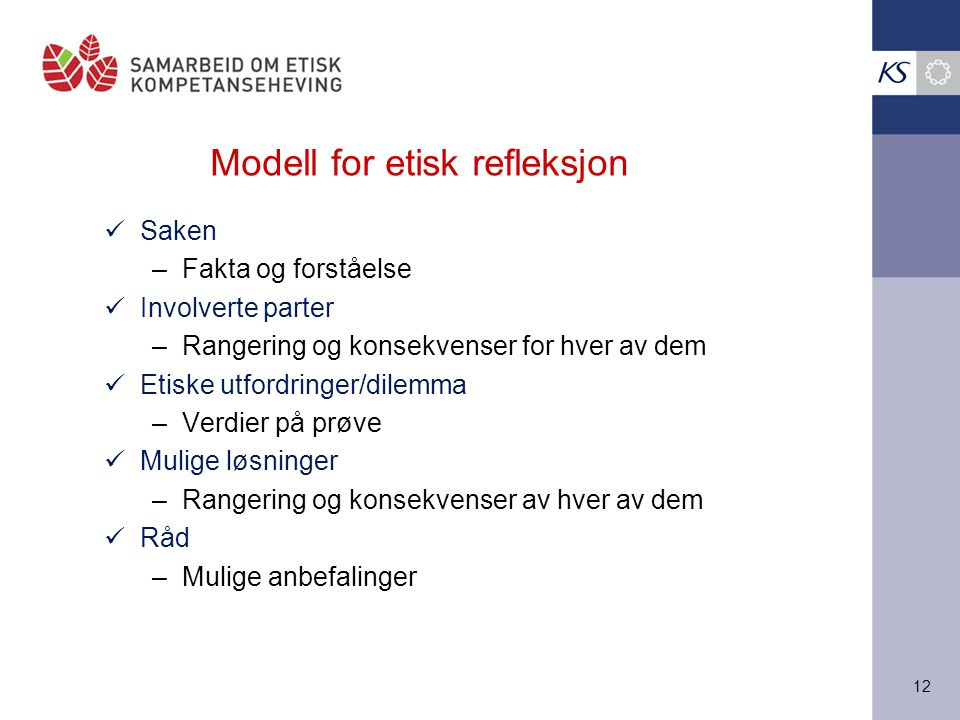 Modell for etisk refleksjon