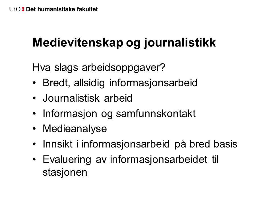 Medievitenskap og journalistikk