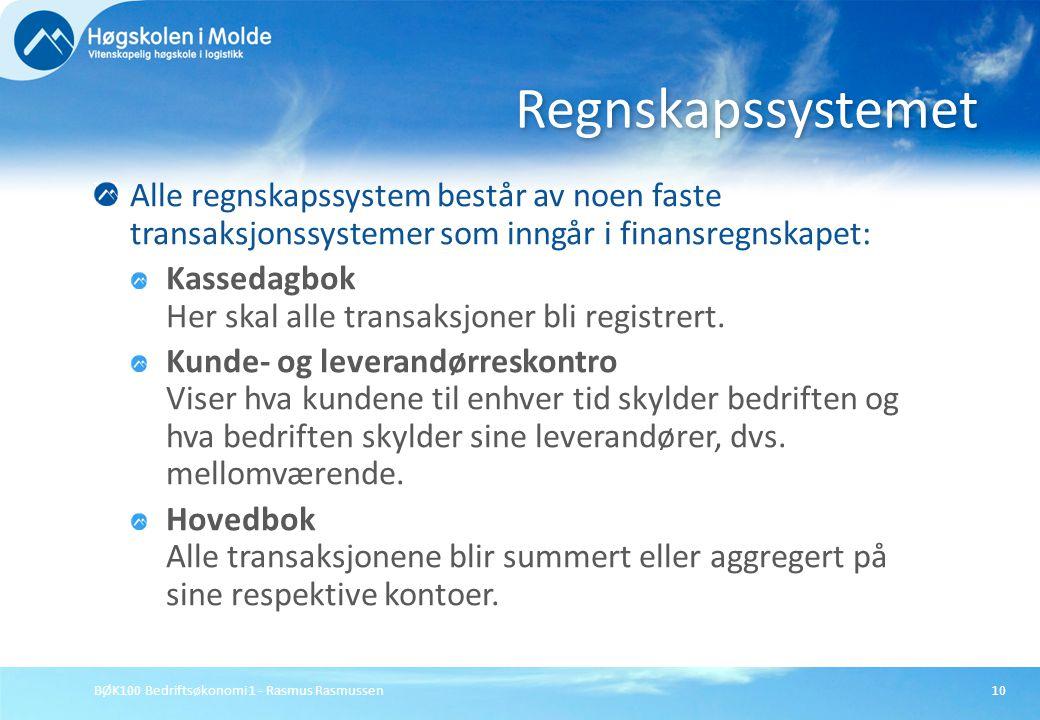 Regnskapssystemet Alle regnskapssystem består av noen faste transaksjonssystemer som inngår i finansregnskapet: