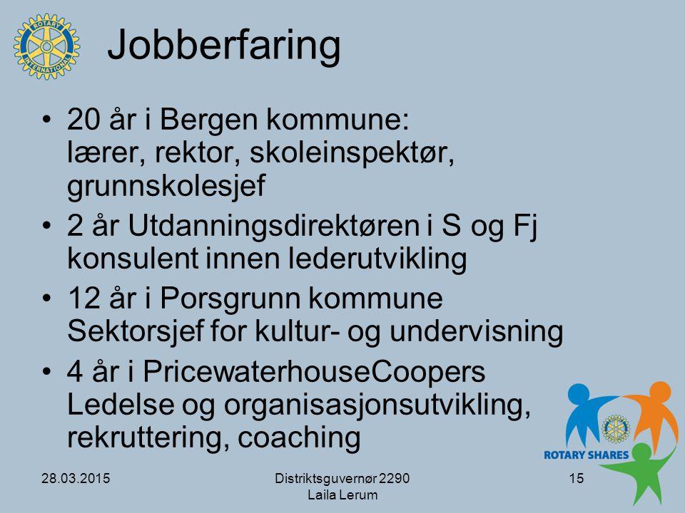 Jobberfaring 20 år i Bergen kommune: lærer, rektor, skoleinspektør, grunnskolesjef.