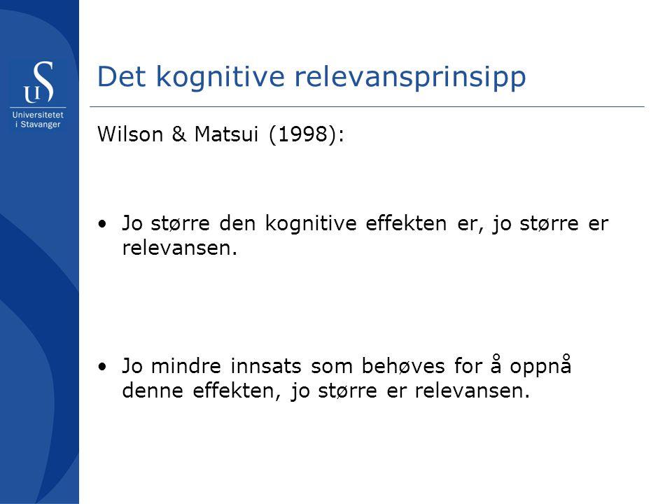 Det kognitive relevansprinsipp