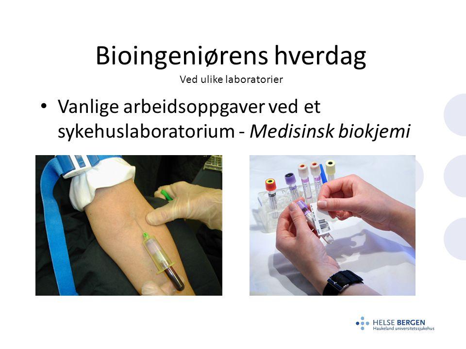 Bioingeniørens hverdag Ved ulike laboratorier