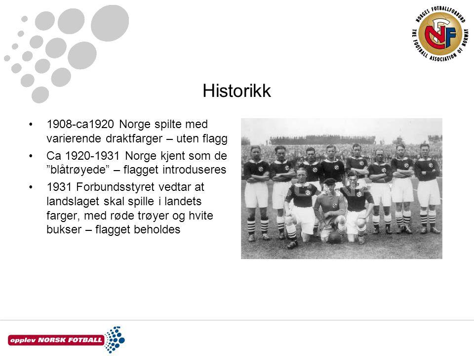 Historikk 1908-ca1920 Norge spilte med varierende draktfarger – uten flagg. Ca 1920-1931 Norge kjent som de blåtrøyede – flagget introduseres.