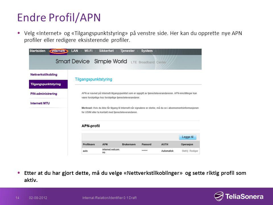 Endre Profil/APN