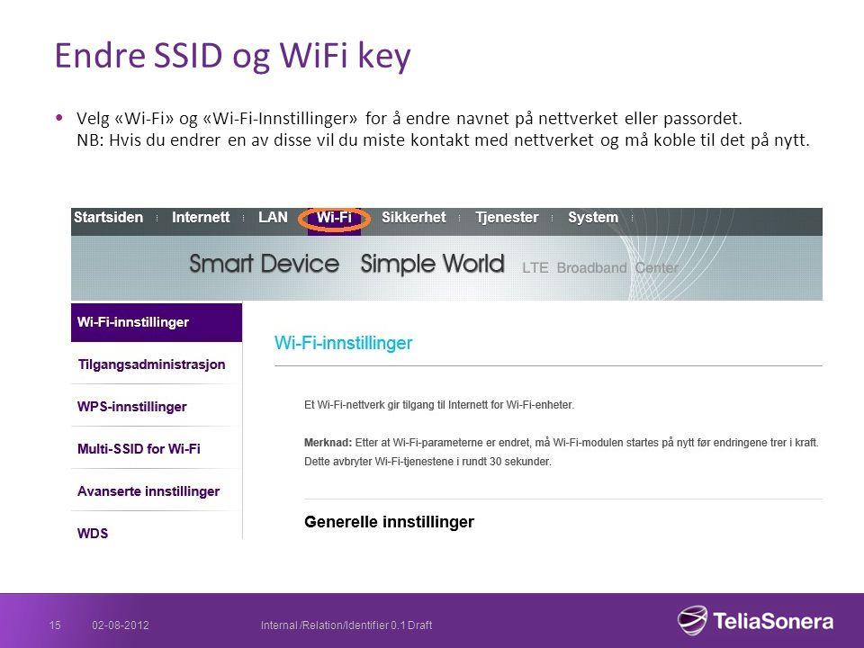 Endre SSID og WiFi key