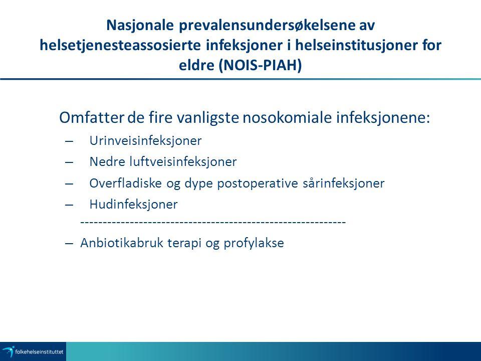 Omfatter de fire vanligste nosokomiale infeksjonene: