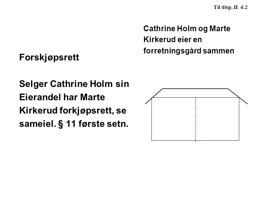 Selger Cathrine Holm sin Eierandel har Marte Kirkerud forkjøpsrett, se