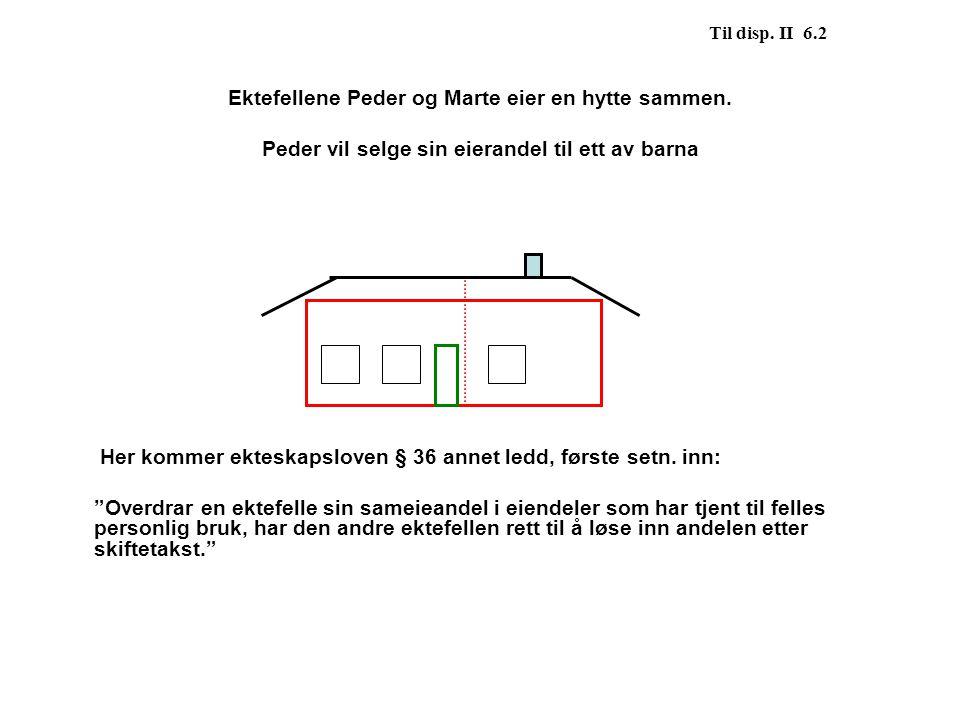 Ektefellene Peder og Marte eier en hytte sammen.