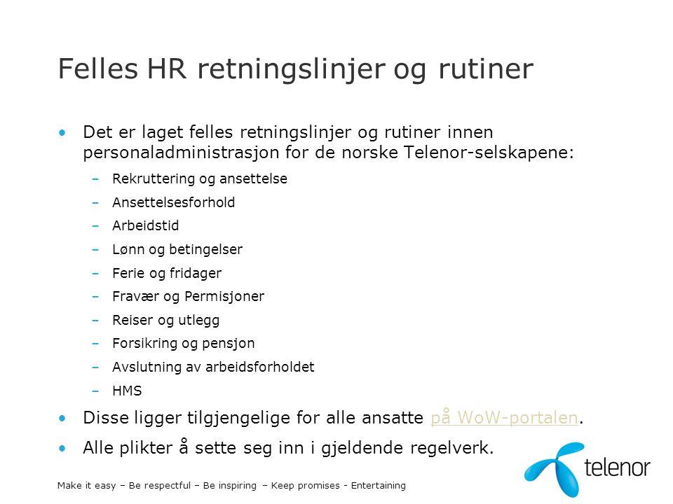 Felles HR retningslinjer og rutiner