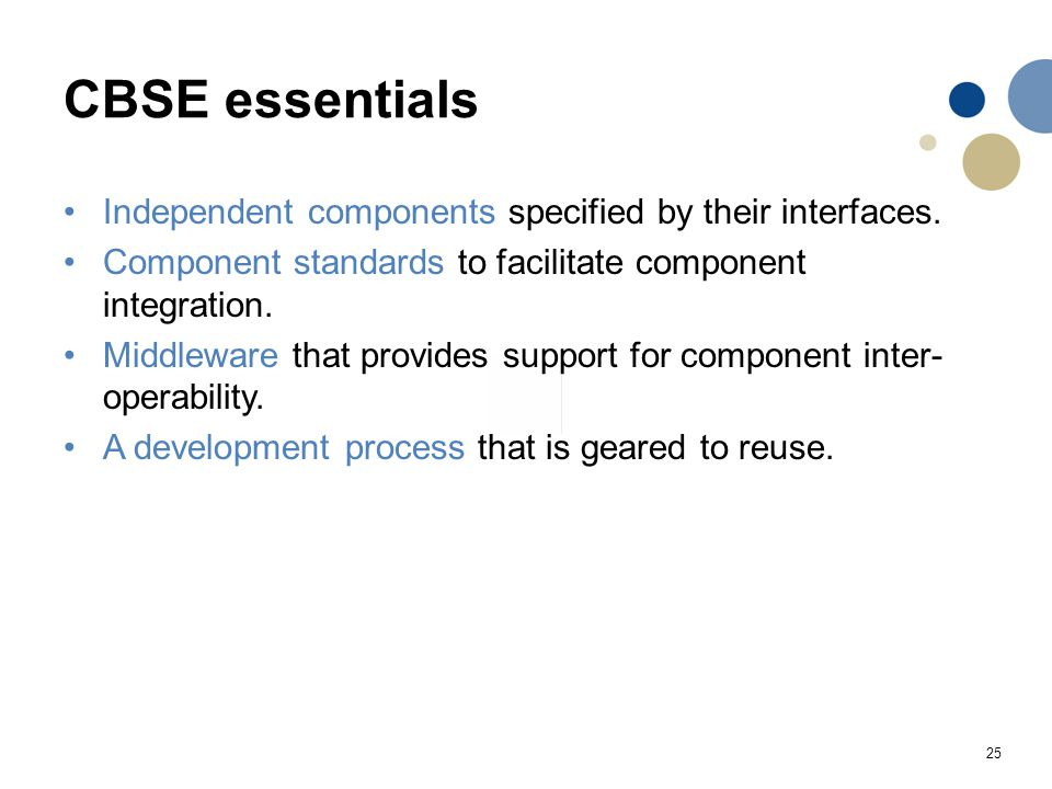 CBSE essentials Independent components specified by their interfaces.