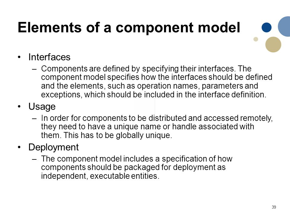 Elements of a component model
