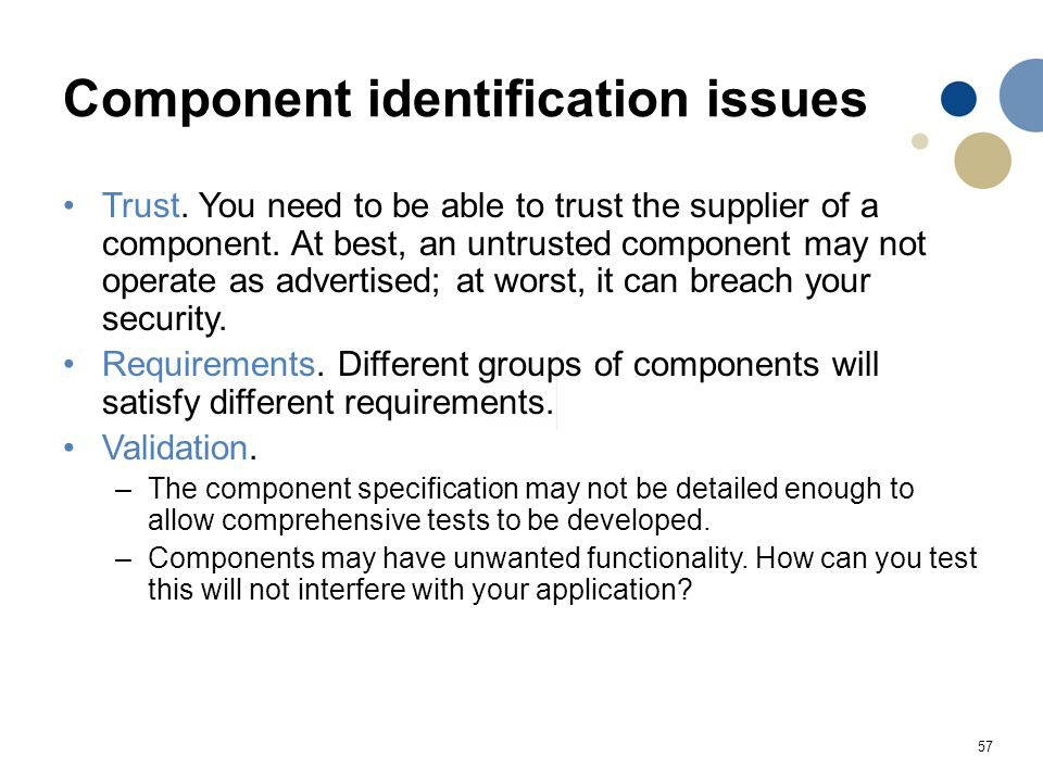 Component identification issues