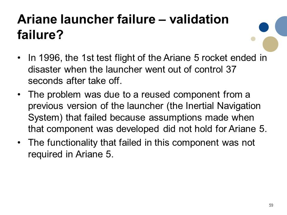 Ariane launcher failure – validation failure