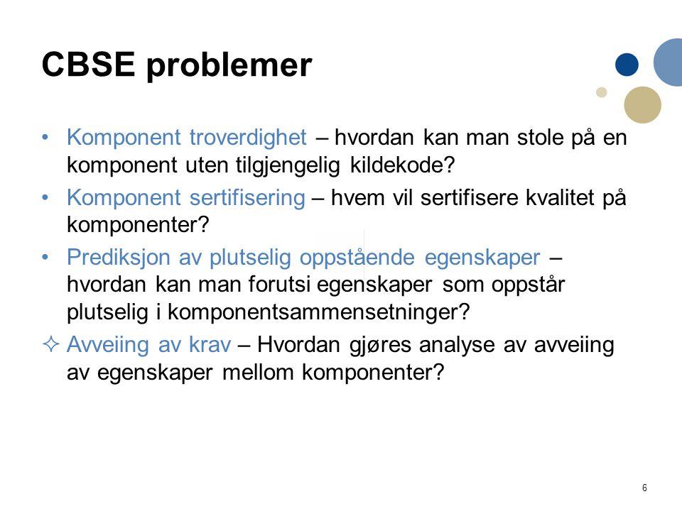 CBSE problemer Komponent troverdighet – hvordan kan man stole på en komponent uten tilgjengelig kildekode