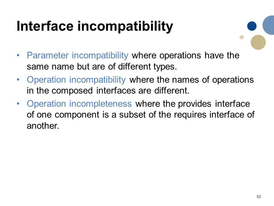 Interface incompatibility