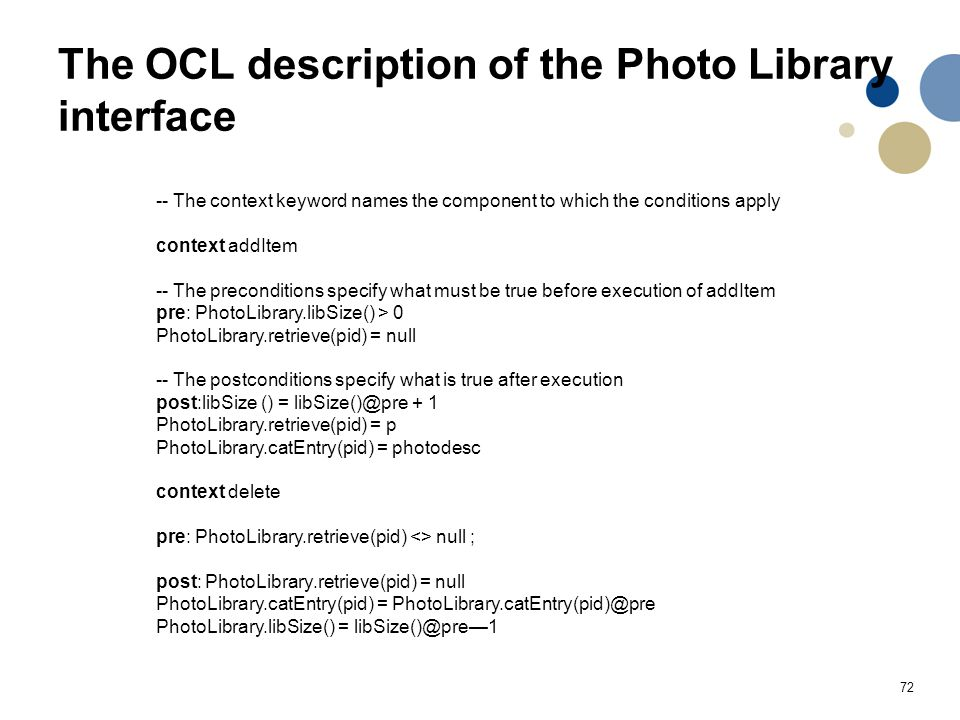 The OCL description of the Photo Library interface