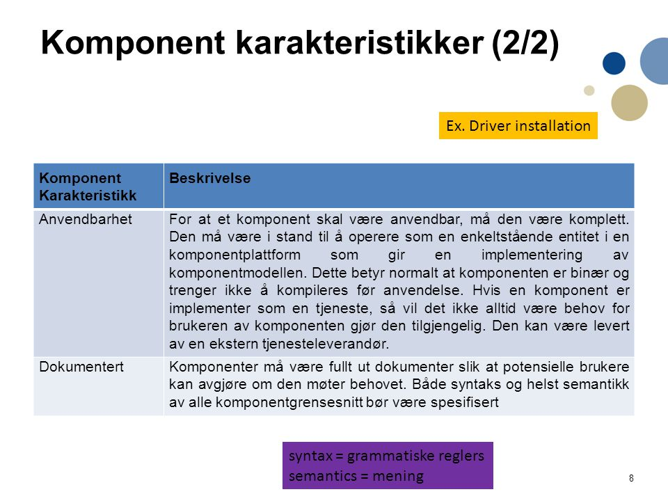 Komponent karakteristikker (2/2)
