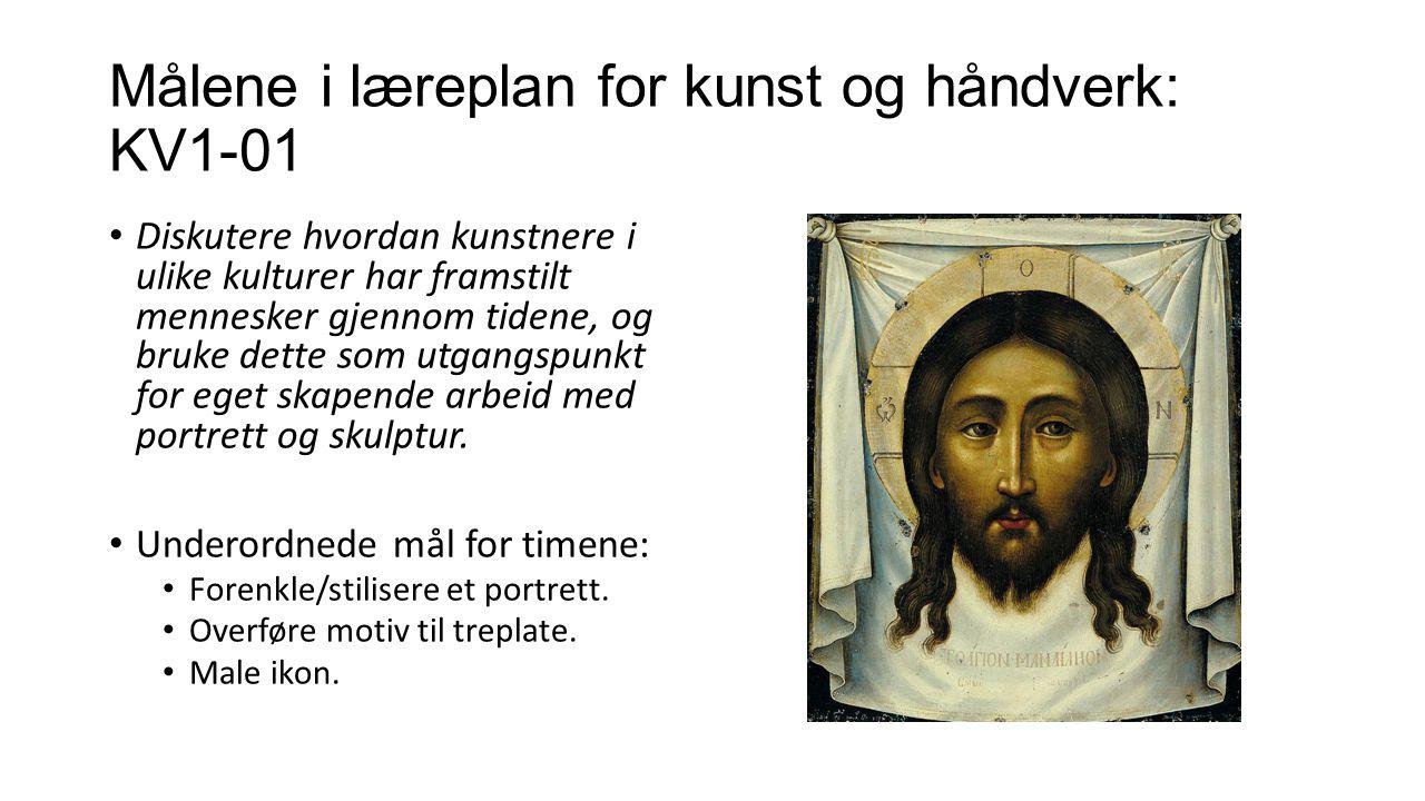 Målene i læreplan for kunst og håndverk: KV1-01