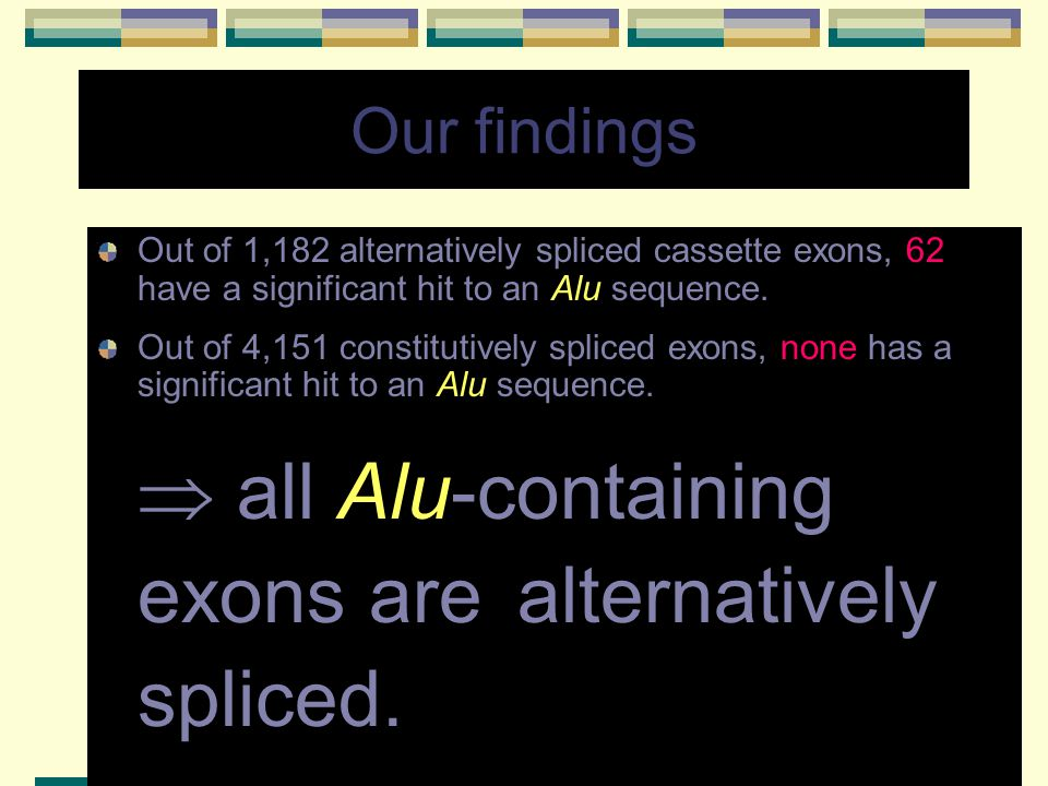  all Alu-containing exons are alternatively spliced.