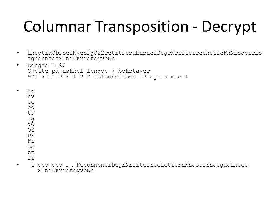 Columnar Transposition - Decrypt