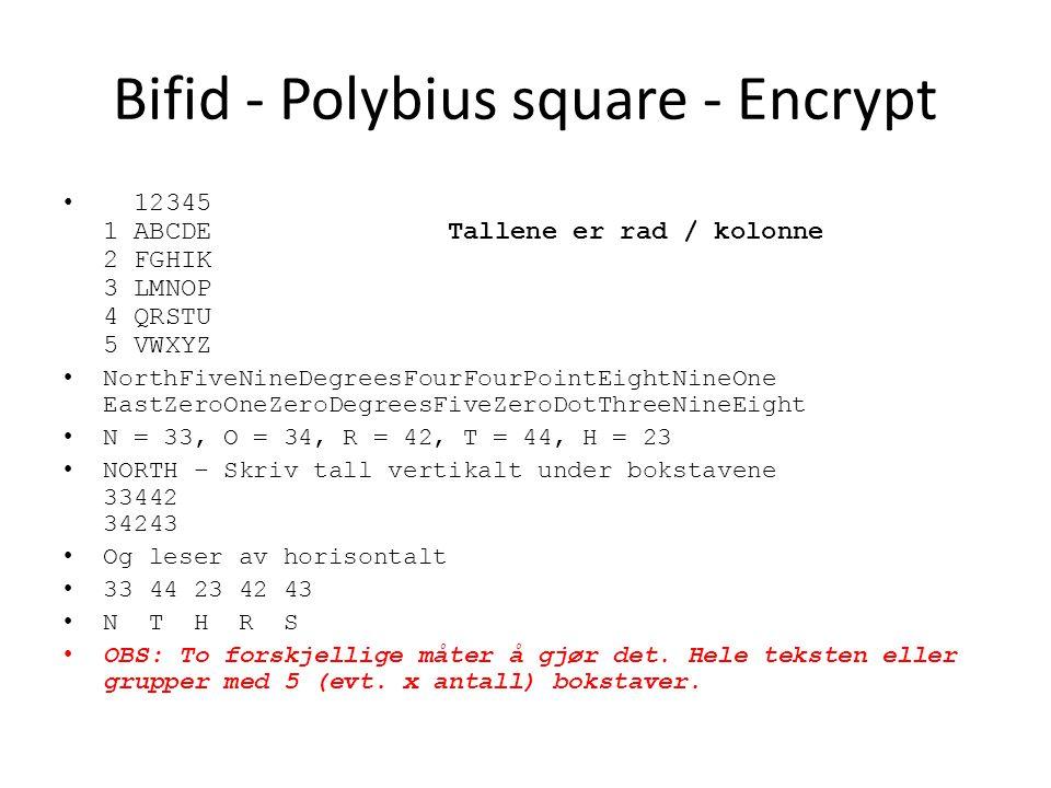 Bifid - Polybius square - Encrypt