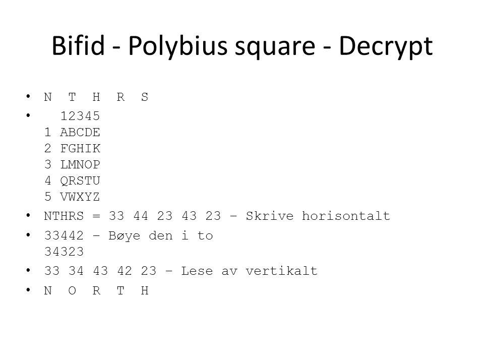Bifid - Polybius square - Decrypt