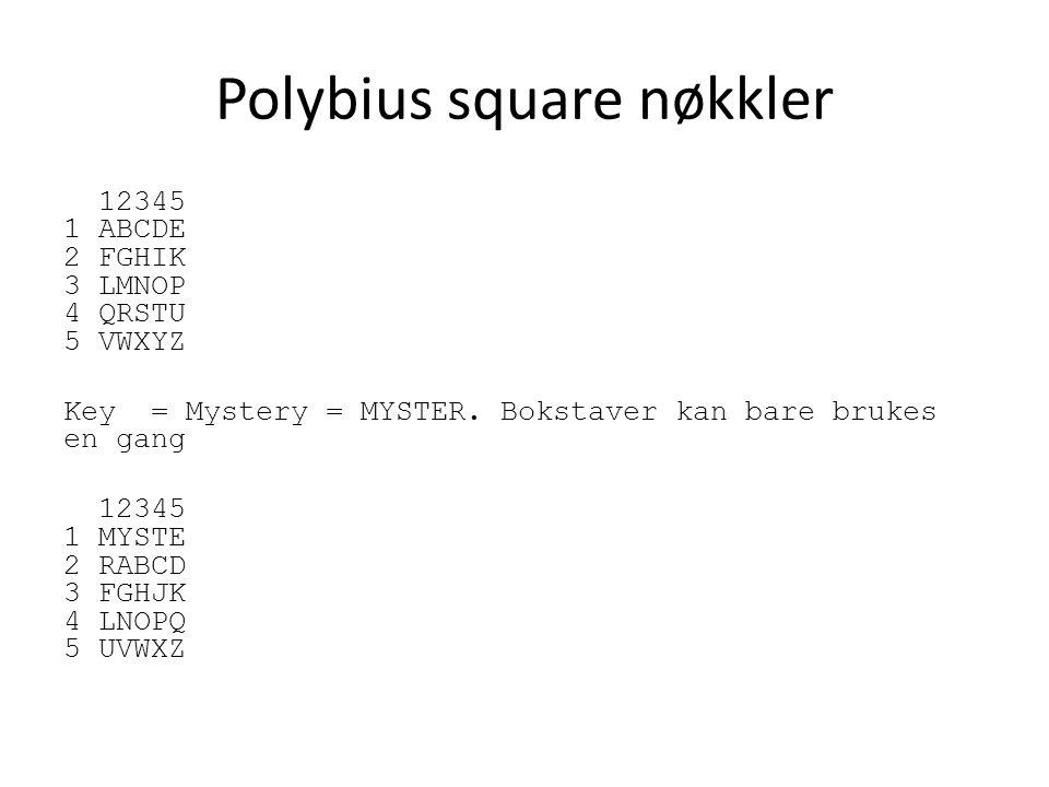 Polybius square nøkkler