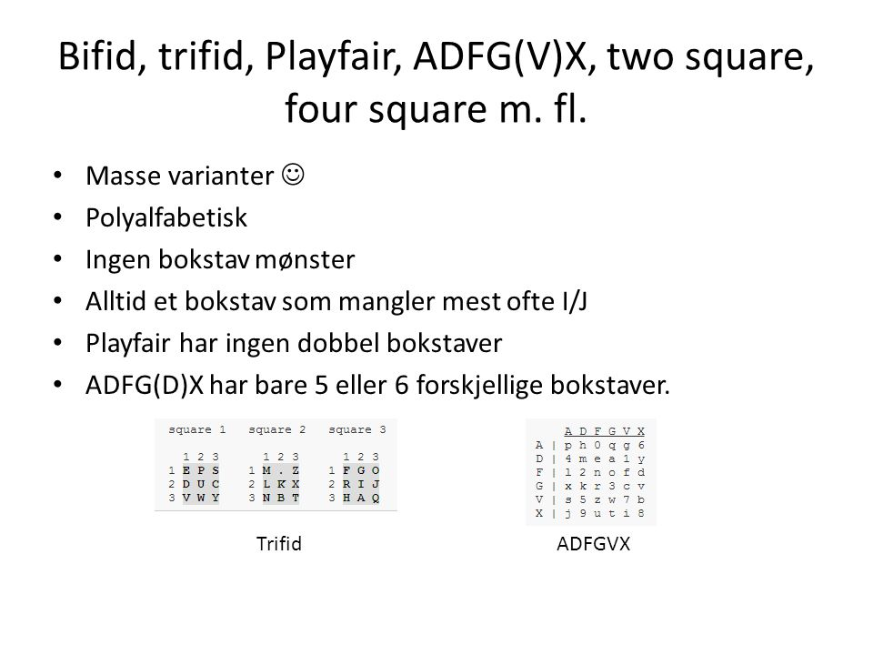 Bifid, trifid, Playfair, ADFG(V)X, two square, four square m. fl.