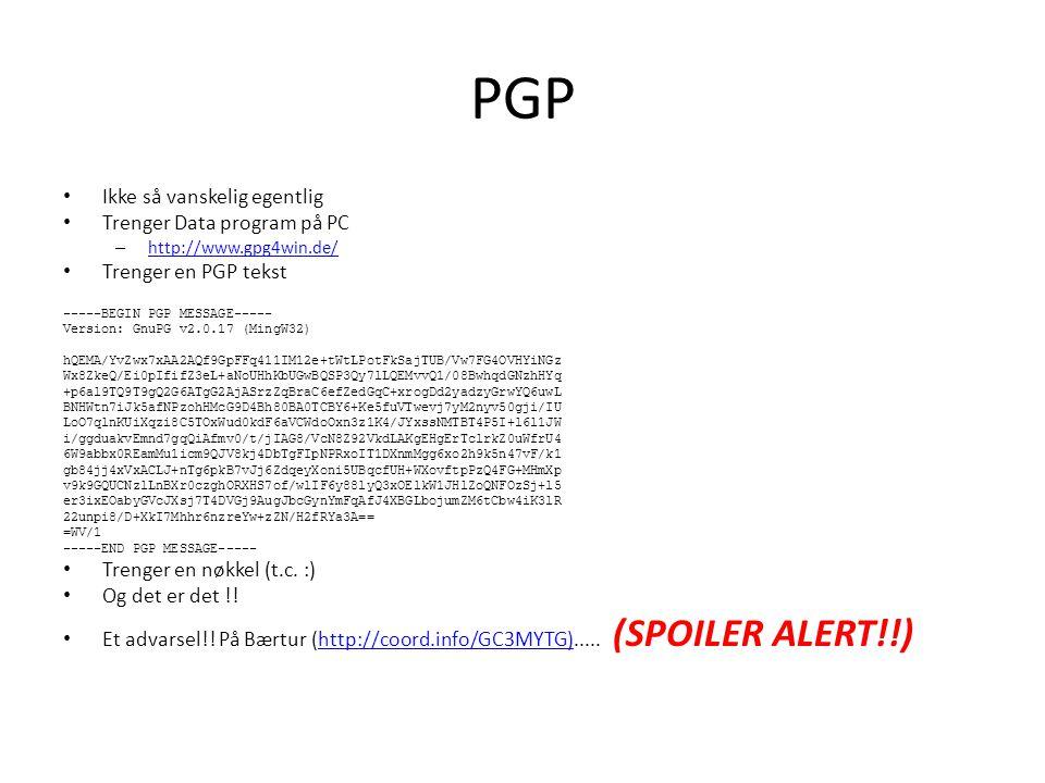 PGP Ikke så vanskelig egentlig Trenger Data program på PC