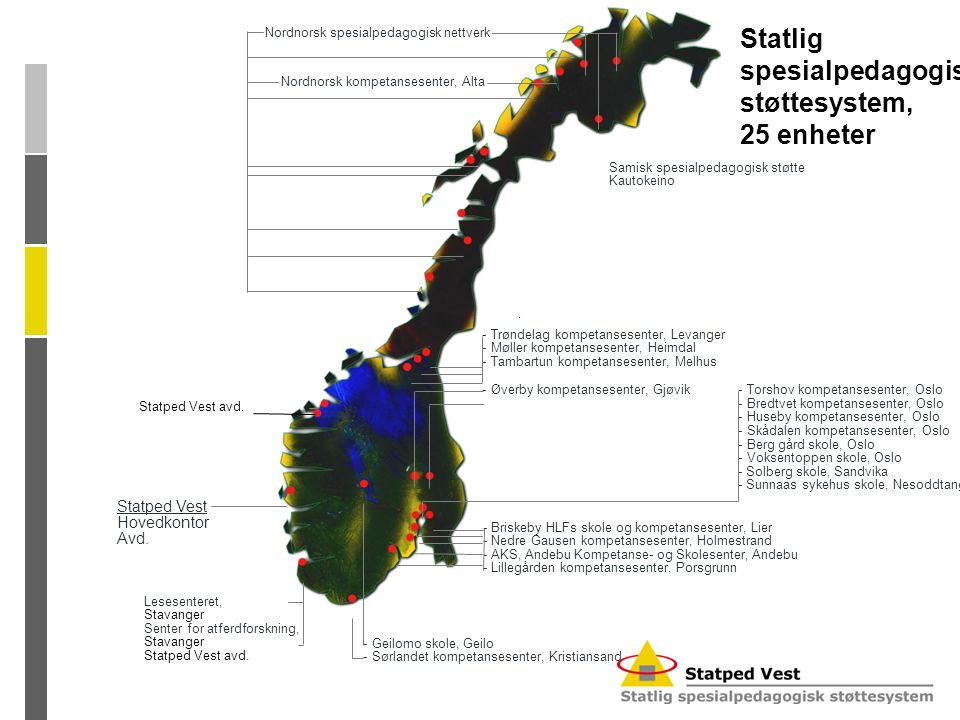 Statlig spesialpedagogisk støttesystem, 25 enheter