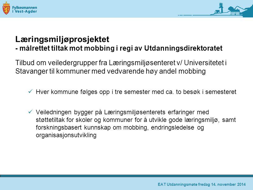 Læringsmiljøprosjektet - målrettet tiltak mot mobbing i regi av Utdanningsdirektoratet