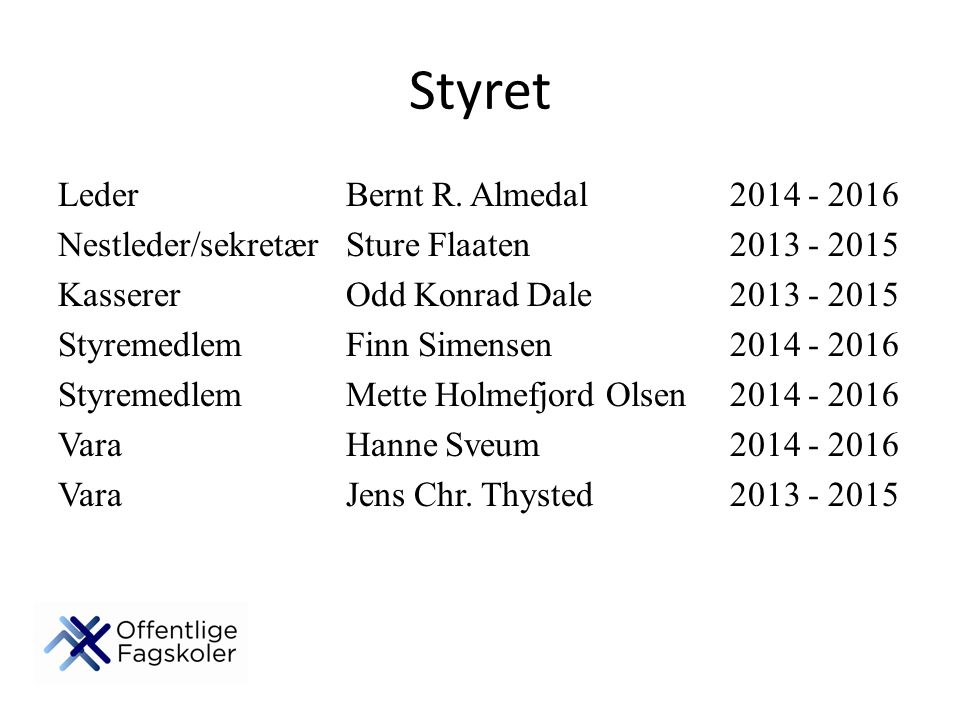 Styret Leder Bernt R. Almedal 2014 - 2016
