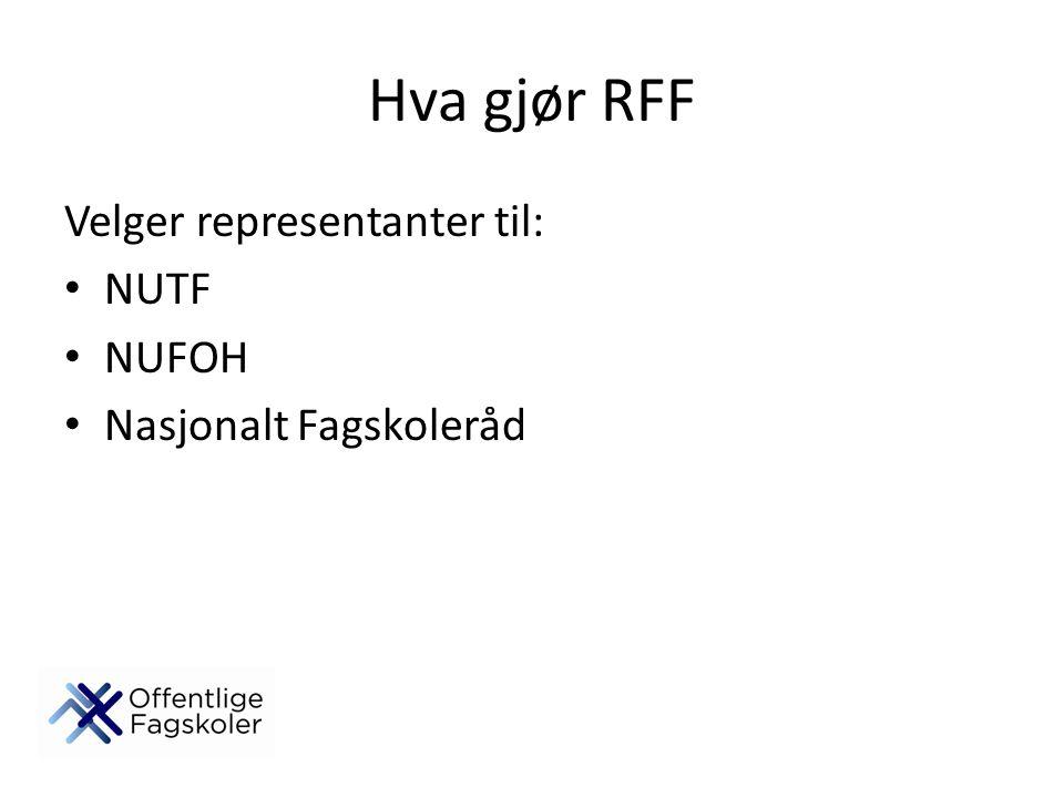 Hva gjør RFF Velger representanter til: NUTF NUFOH