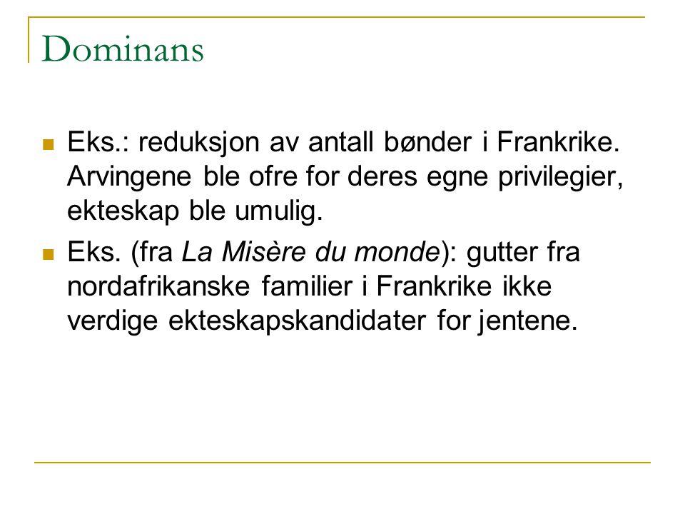 Dominans Eks.: reduksjon av antall bønder i Frankrike. Arvingene ble ofre for deres egne privilegier, ekteskap ble umulig.