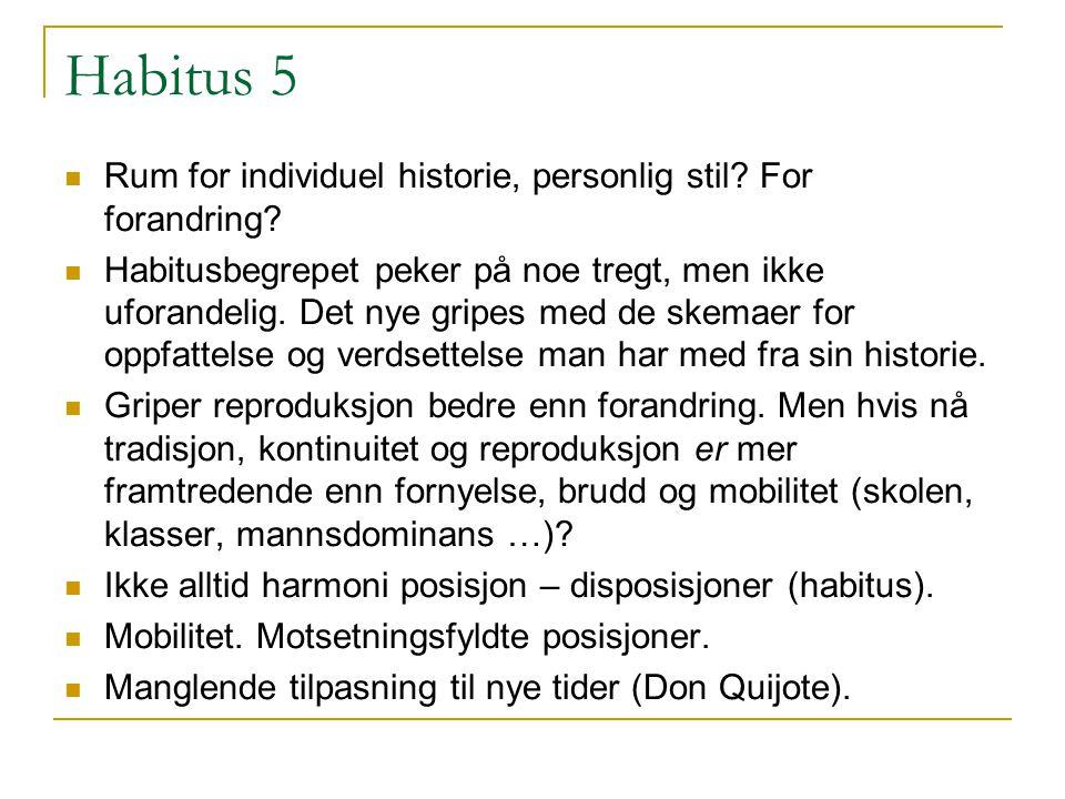 Habitus 5 Rum for individuel historie, personlig stil For forandring