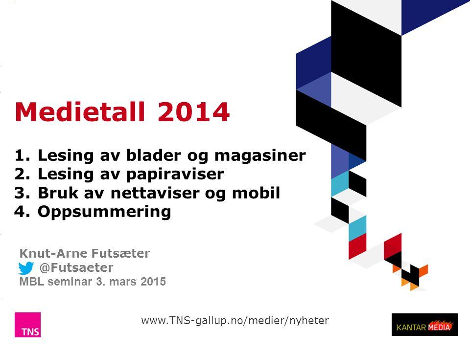 Medietall 2014 Lesing av blader og magasiner Lesing av papiraviser