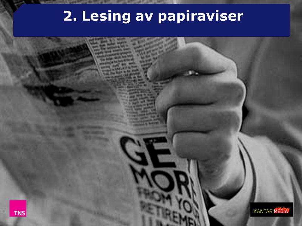 2. Lesing av papiraviser Halvert konsum på 10 år